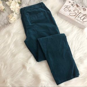 Chico's Velvet Jeans Turquoise Teal, Size 1.5/10